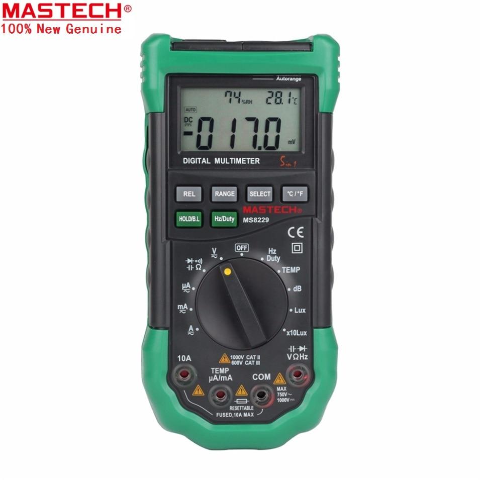 Original Mastech MS8229 5 in1 Auto range Digital Multimeter Multifunction Lux Sound Level Temperature Humidity Tester Meter hhtl peakmeter ms8229 auto range 5 in 1 multifunctional handheld 2 8 auto digital multimeter