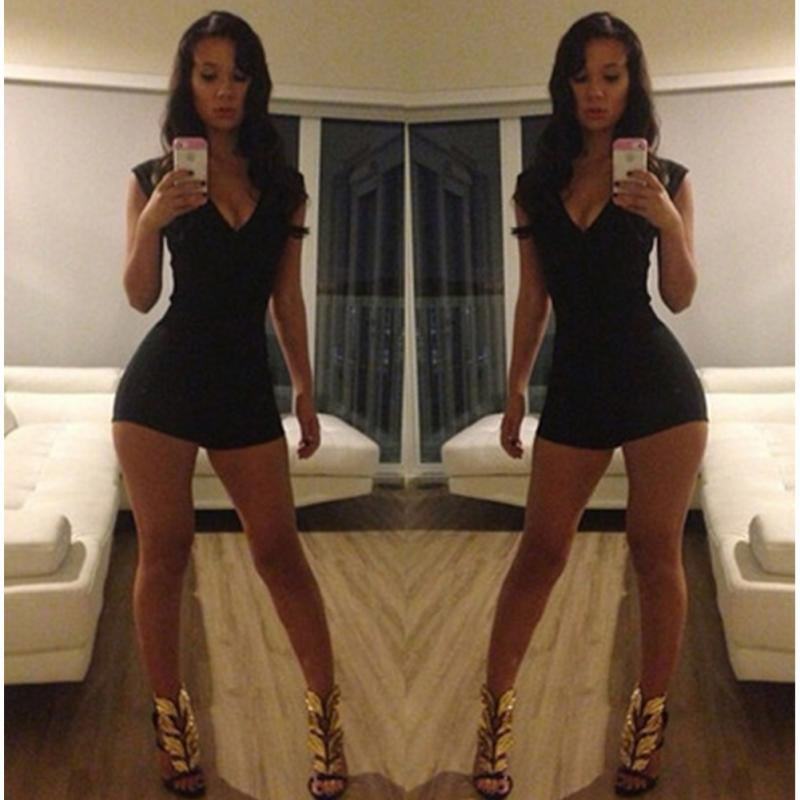 192e84eb522 New Sexy Women Fashion cool V Neck Jumpsuit Bodysuit Black Stretch Rompers Womens  Jumpsuit Hot Sale-in Rompers from Women s Clothing on Aliexpress.com ...