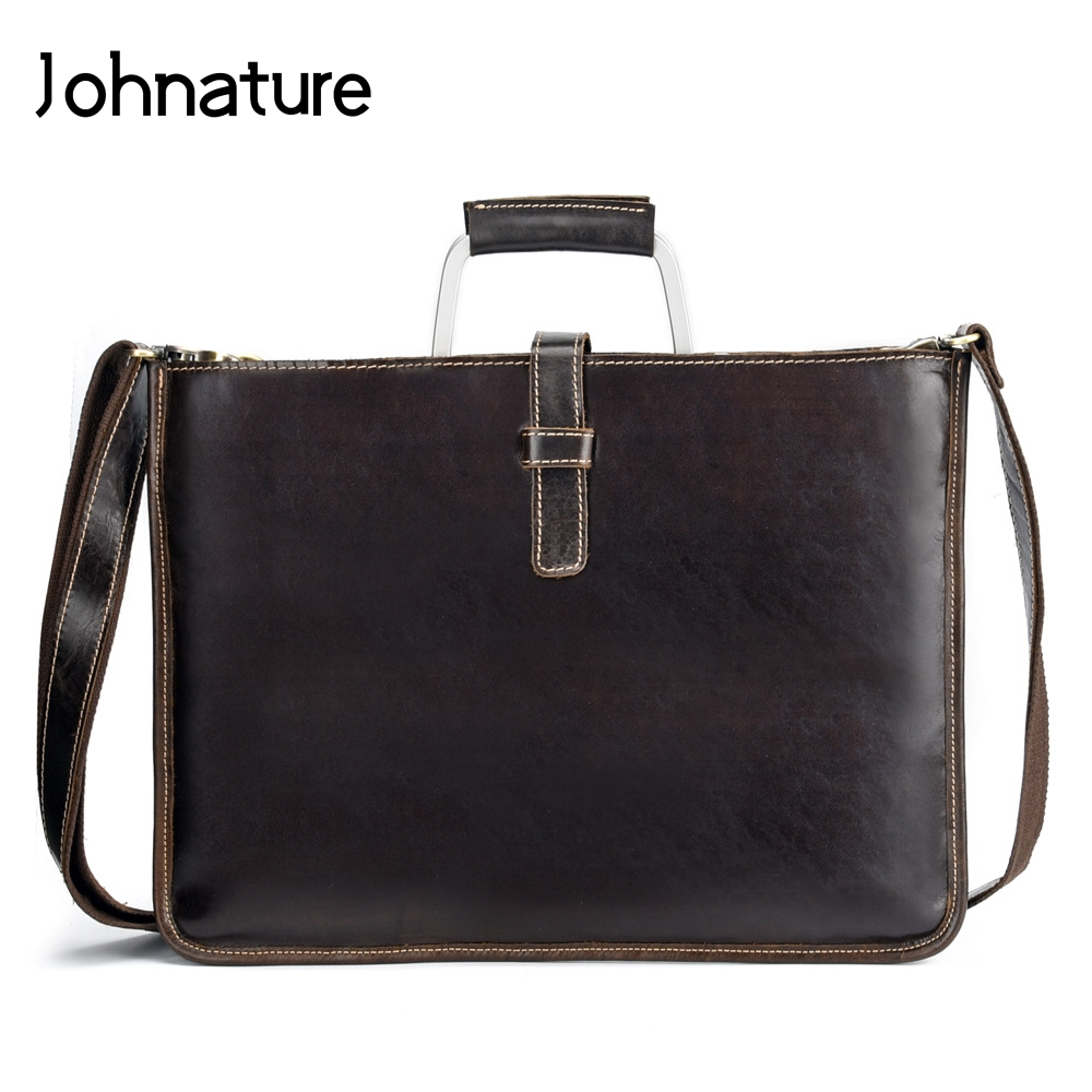 Johnature 2019 New Genuine Leather Briefcase Men Business Bag Laptop Vintage Hard Handle Document Bag Handbags&Crossbody Bags