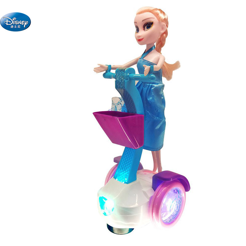 25 <font><b>cm</b></font> frozen Princess Elsa and anna <font><b>dolls</b></font> with Electric car balance Sound and light music Disney Toys Birthday Gift For Girls image