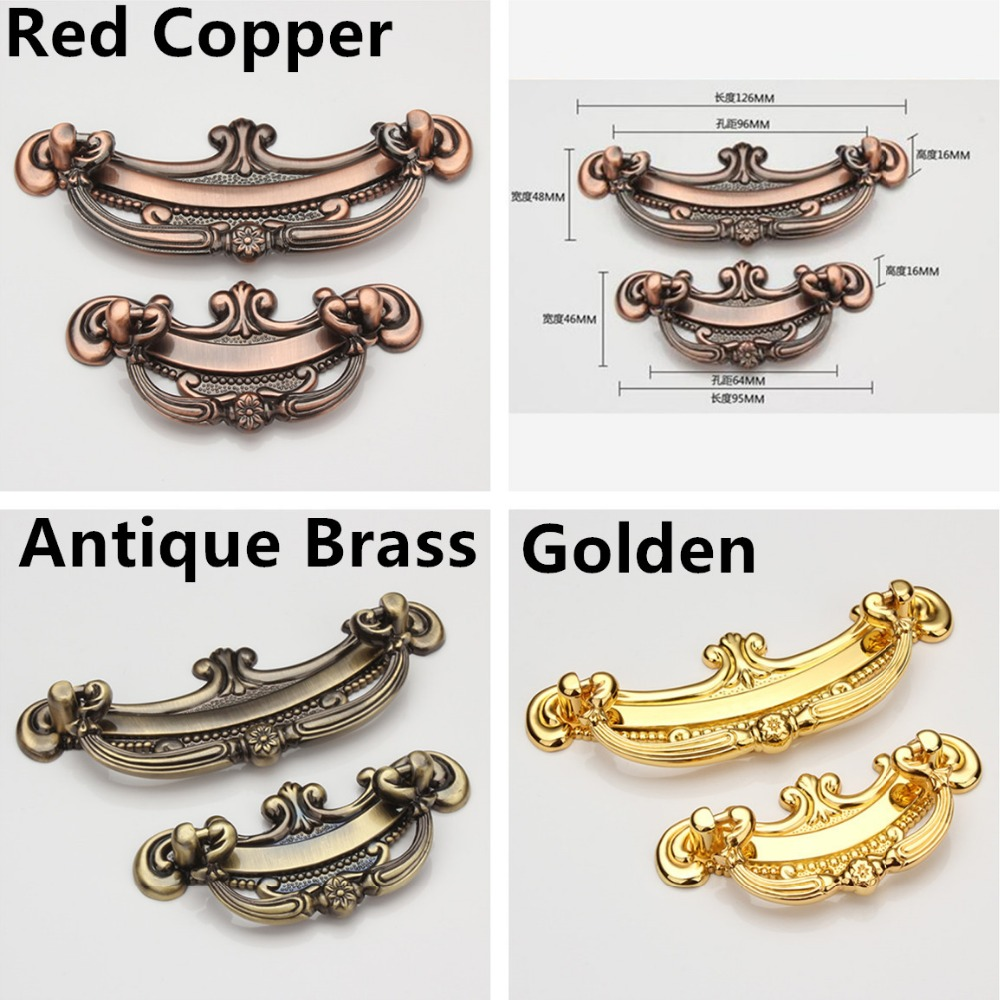 Hole C:C: 64mm/96mm Zinc Alloy Classical Kitchen Furniture Handle antique bedroom drawer handle Golden color hole pitch 64mm 96mm 160mm zinc alloy handle modern handle kitchen furniture handle bedroom drawer handle silver side