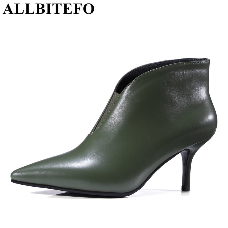 ALLBITEFO fashion sexy genuine leather pointed toe high heels women boots thin heel high quality spring boots ankle boots woman czrbt genuine leather boots women fashion pointed toe thick heel high heel boots spring autumn cow leather women chelsea boots
