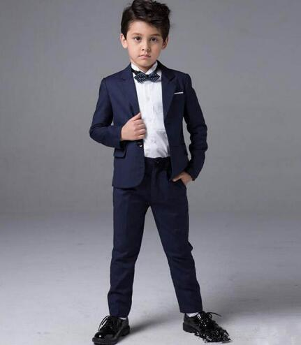 2019 Custom Made Navy Blue Formal Groom Wear Wedding Suits For Boy Peaked Lapel Kids Formal Suit Wedding Party Children Tuxedos