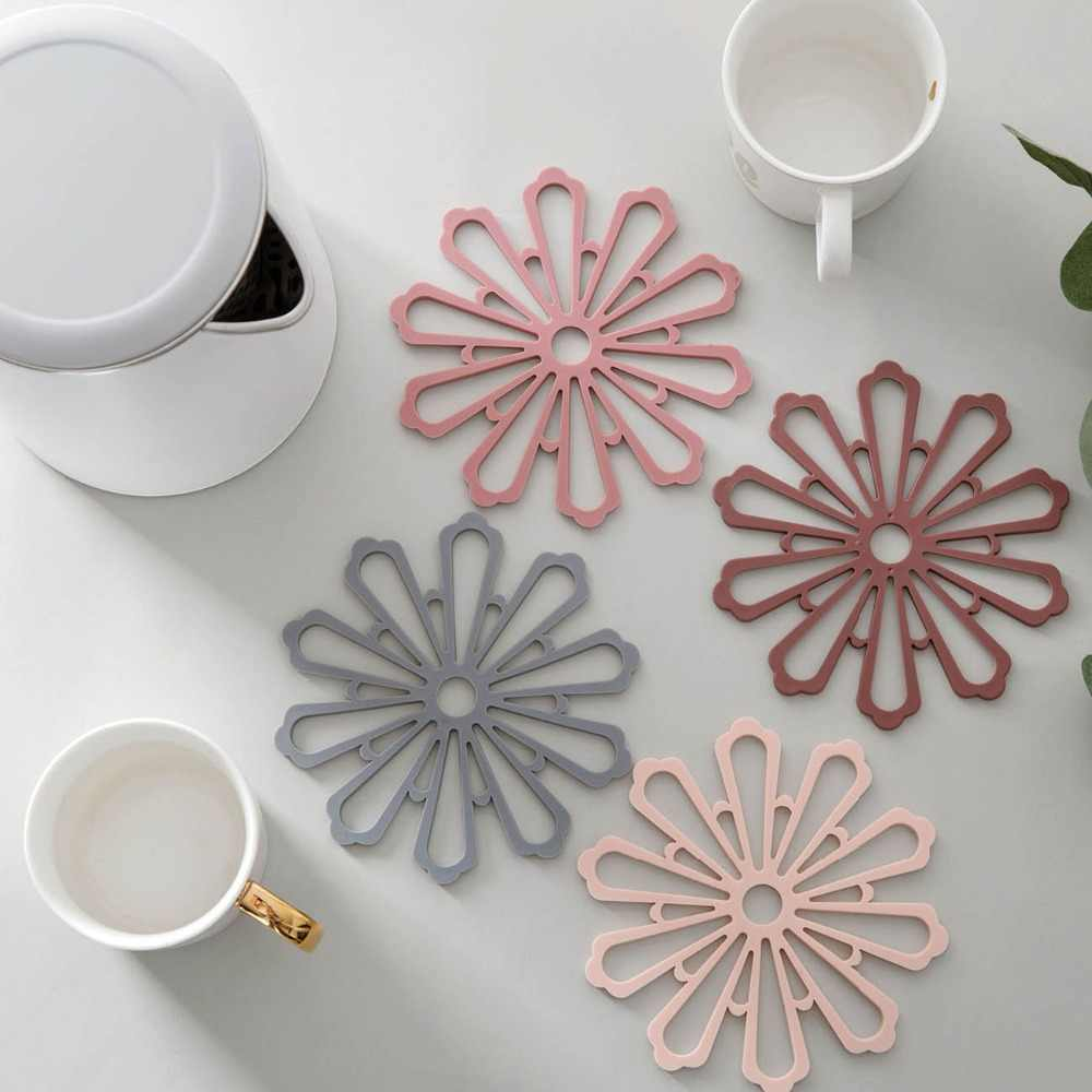 15CM Flower Shape Thickened Cup Silicone Coaster Creative Heat Insulation Placemat Kitchen Anti-scalding Pad Pan Household Mat