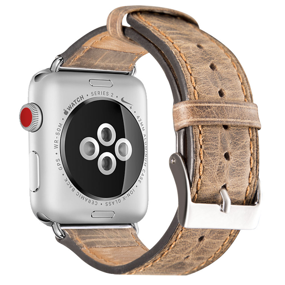 Genuine Leather Strap Nostalgic Style Burst Crack Grain Bracelet Watchband  for apple watch Series 1/2 Series3 38/42mm-in Watchbands from Watches on