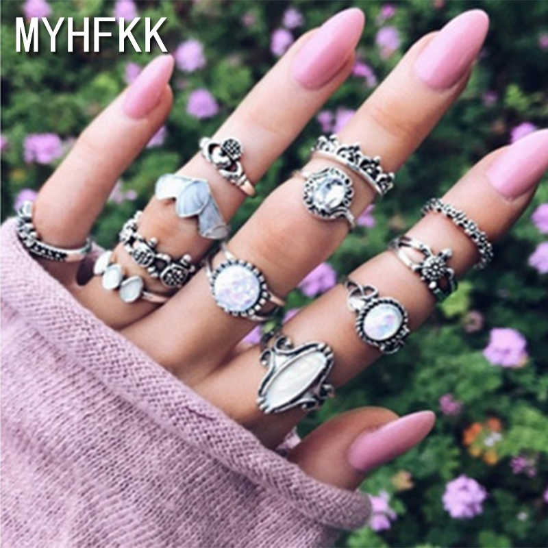 MYHFKK12 pieces/set female ring punk retro heart type flower crown crystal silver joint ring female fashion party ring set JZ033