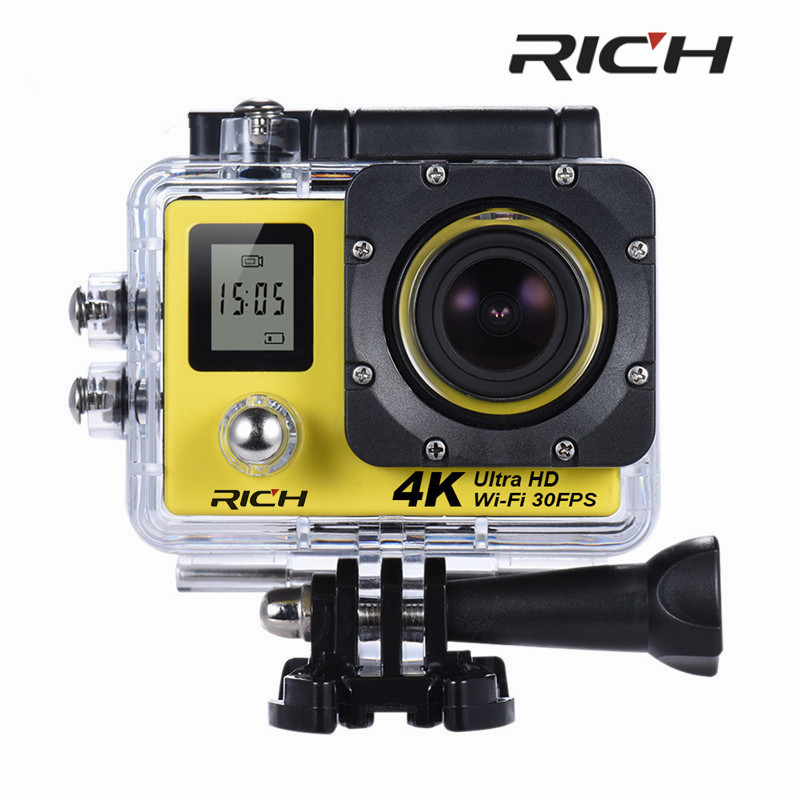 цена RICH SJ8000D 4K Action Camera 2.0 Double LCD Display 16MP Sports WiFi Camera 30M Waterproof mini camcorder 170 angle HDMI out