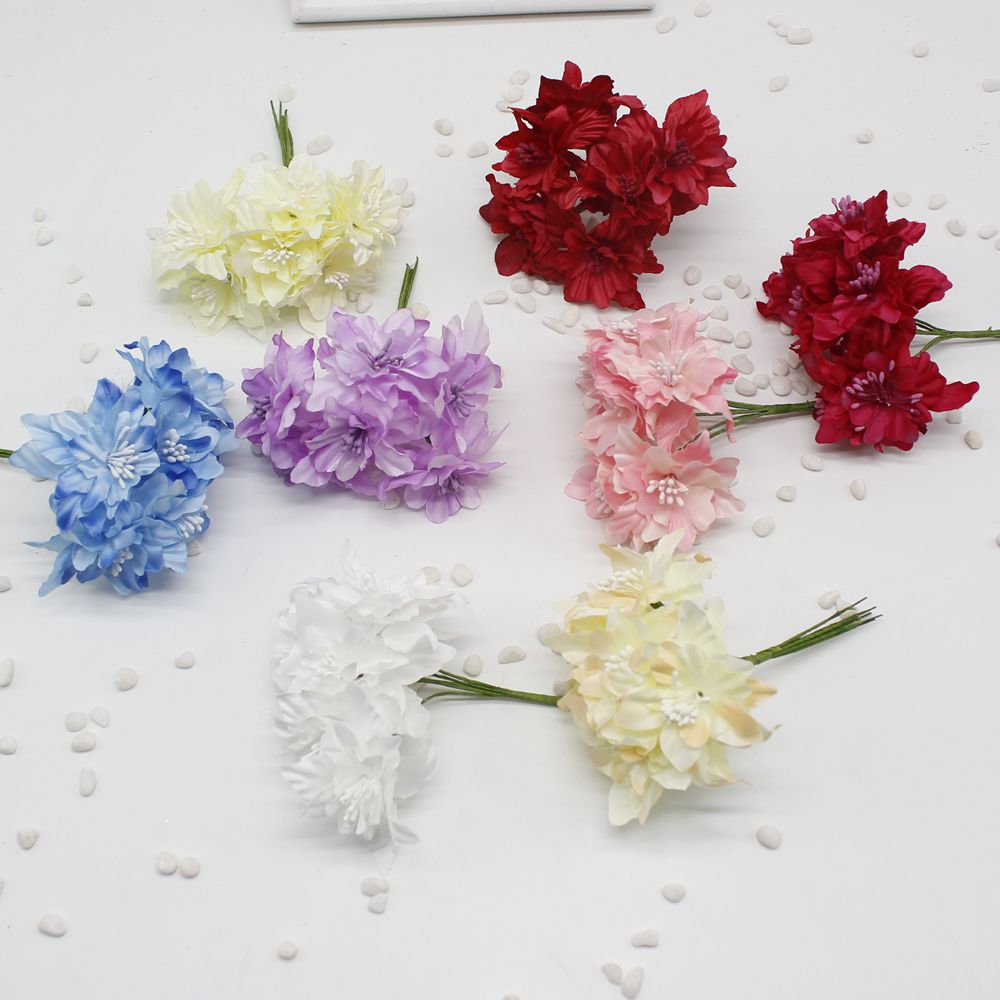 6 Pcs 4 Cm New Artificial Cherry Blossom Mini Cloth Flowers Bouquet
