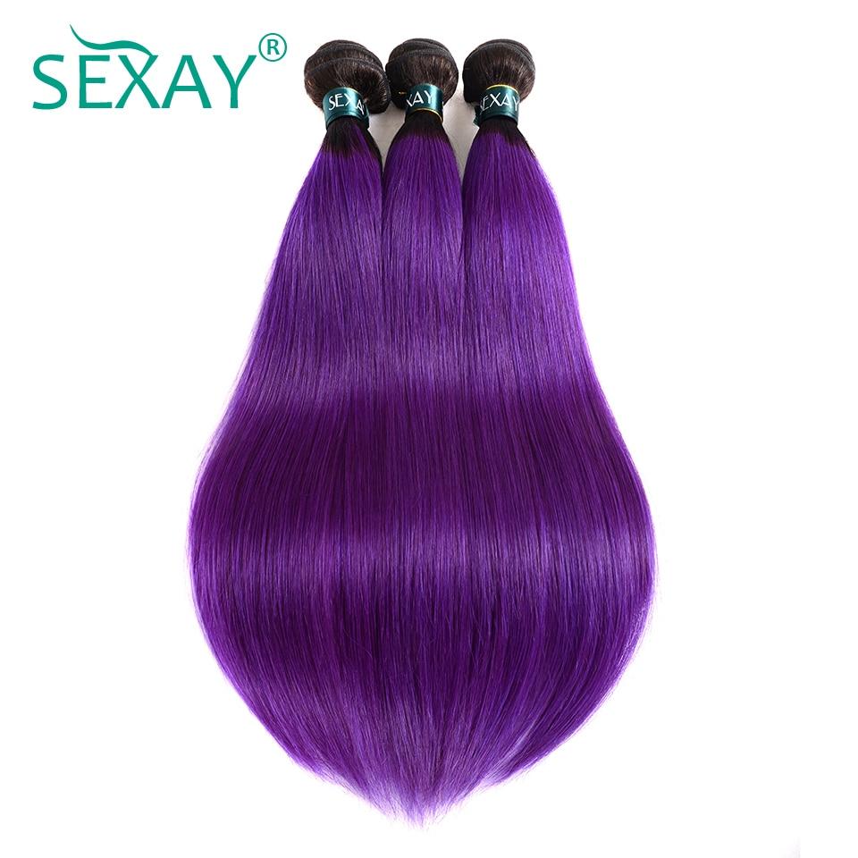 Sexay Ombre Brazilian Hair Straight Human Hair Weaves 3 Bundles Lot T1B/Purple Dark Roots Brazilian Straight Human Hair Bundles