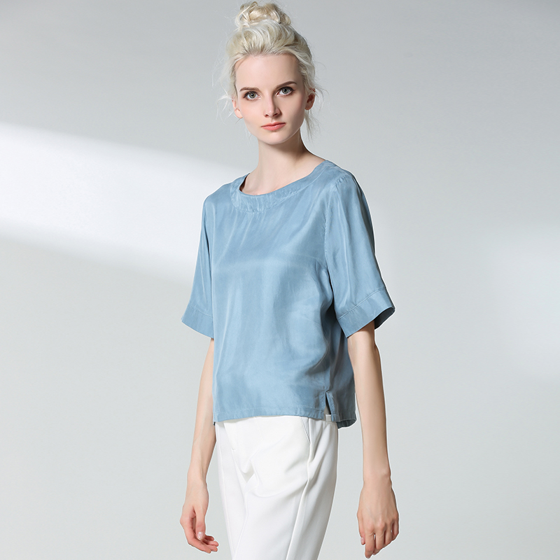Woman Spring Solid Short Sleeve O-neck 30% Silk Shirts Female Summer Hedging Loo