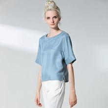 Camisas de seda de cuello redondo para mujer, blusa holgada y fina transpirable, Tops de primavera, camisola, top de La llegada, 30%
