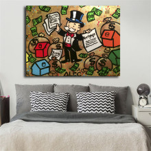 Money Man Graffiti Wall Art Alec Monopolyingly Canvas Poster And Print Painting Decorative Picture For Bedroom Home Decor