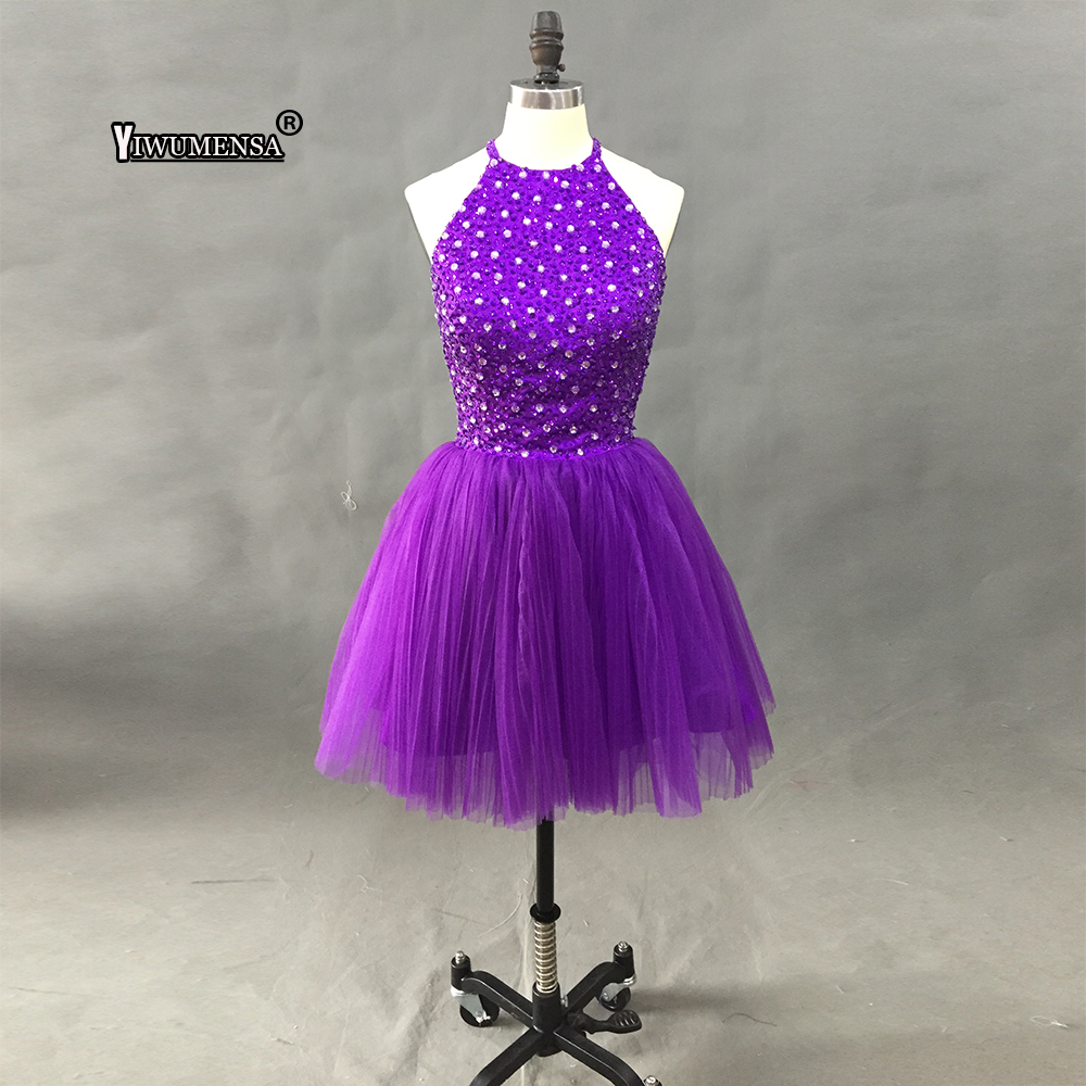 Elegant Pearl Purple   Prom     Dresses   2018 Sexy   Prom     Dress   Short V Neck Crystal Beading Backless Knee-Length Graduation Party Gowns
