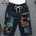2016 Новый колен Ручной Вентилятор Шаблон Джинсовые Шорты Женщин Vintage Короткие джинсы высокой упругой талии шорты femme Плюс размер брюки
