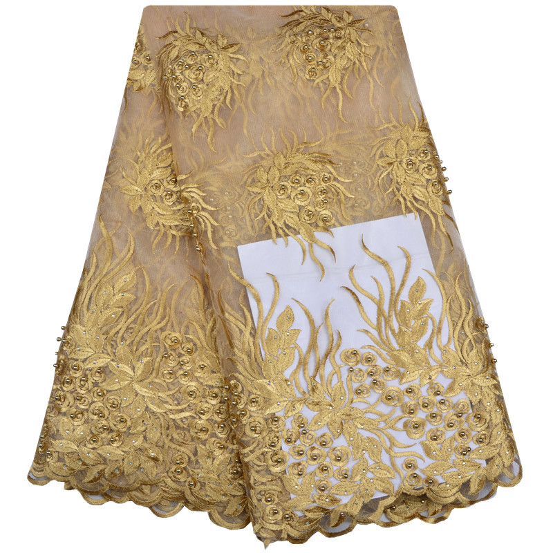Hottest Selling Beads Nigerian Lace Fabric Dubai Embroidered Tulle Lace Latest African Lace Fabrics French Lace