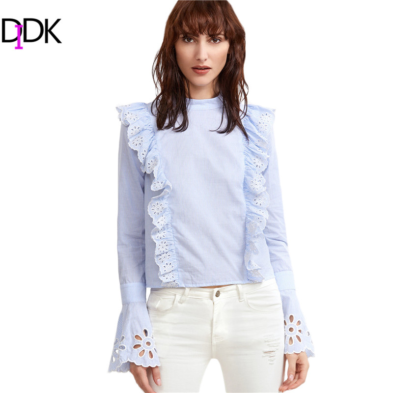 Images of Women S White Ruffle Blouse - Reikian
