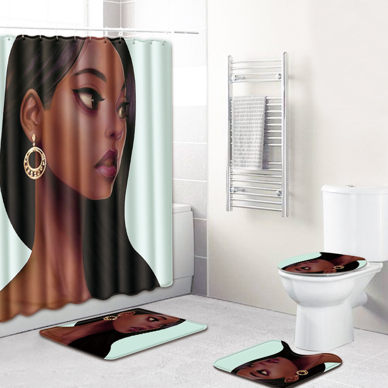 HTB10tPEhu3tHKVjSZSgq6x4QFXaV - American style African sexy curls woman pattern waterproof shower curtain bathroom with hook anti-slip mat toilet mat set