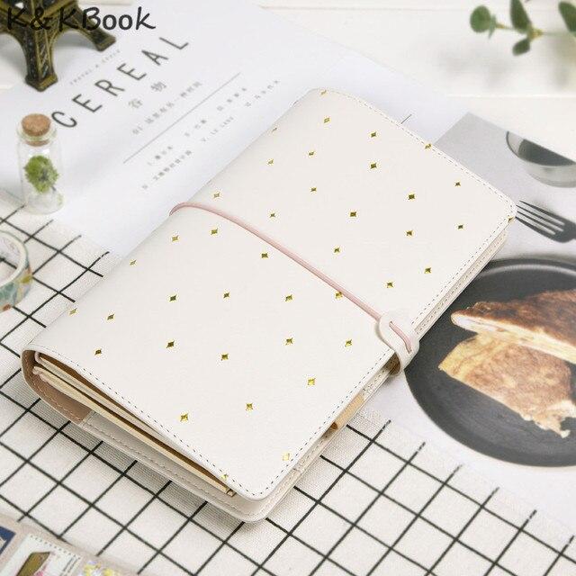 K&KBOOK Kawaii Leather Notebook A6 Travelers Notebook Diary Portable Journal Dotted Notebook Planner Agenda Organizer Caderno