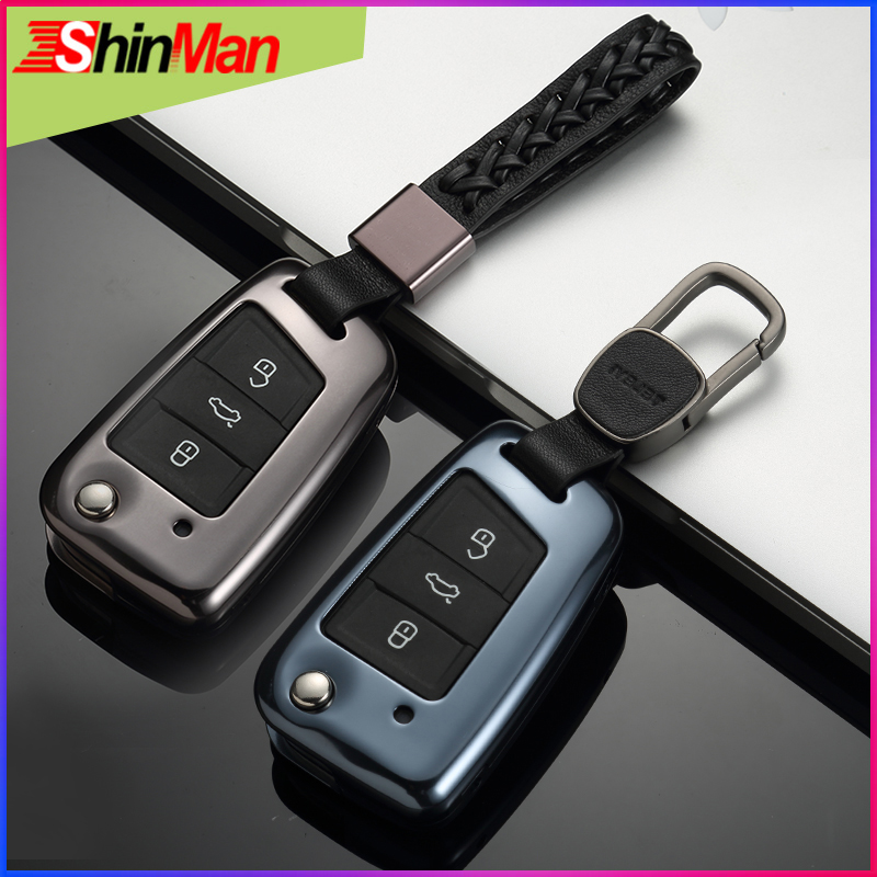 ShinMan Aluminum Alloy Car key Case For Volkswagen PASSAT Passat 2017 2018 key case cover key Remote control Fob Car Accessories