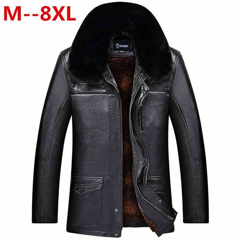 Plus size 10XL 8XL 6XL 5XL Brand Winter Thick Leather Garment Casual flocking Leather Jacket Mens Clothing Leather Jacket Men