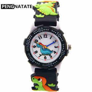 Детские часы PENGNATATE, черный ремешок, милый подарок для мальчиков и девочек, 3D Браслет в виде динозавра, наручные часы, модные детские силиконо...