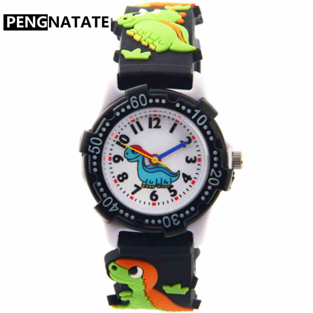 Детские часы PENGNATATE, черный ремешок, милый подарок для мальчиков и девочек, 3D Браслет в виде динозавра, наручные часы, модные детские силиконовые часы