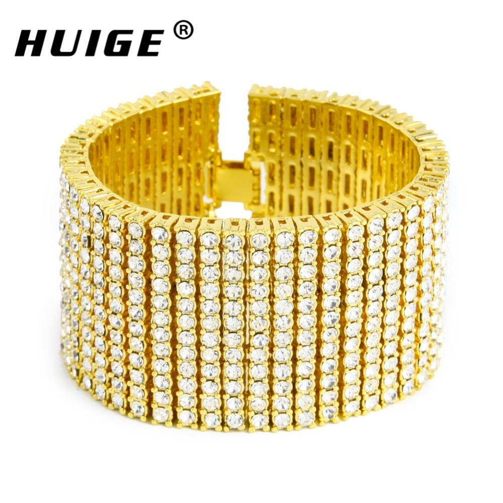 New Men S Yellow Gold Finish 12 Row Diamond Simulated Crystal Bracelet 8 5 Inch Jewelry