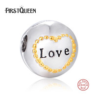 FirstQueen Authentic 925 Sterling Silver Love Clip Bead Charms fit Bracelets Necklaces Mother Gift