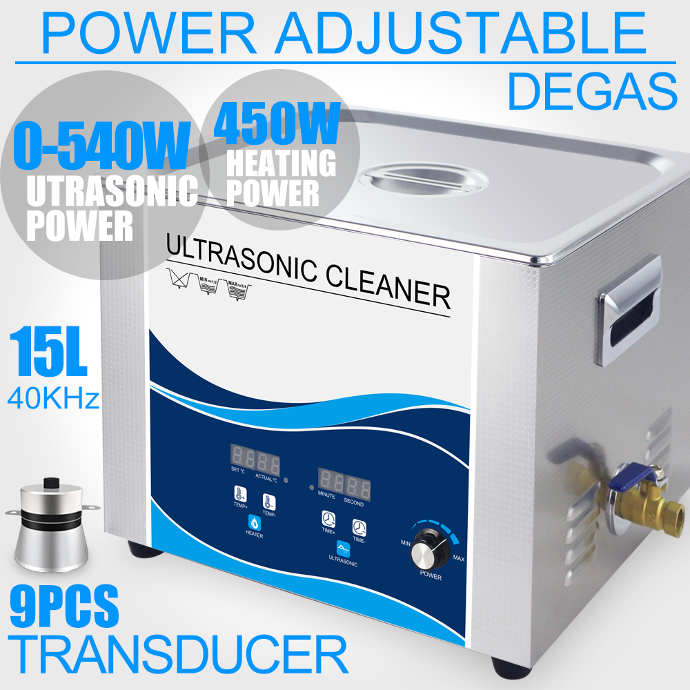 540W Digital Ultrasonic Cleaner 15L Stainless Bath Power Adjustment Degas Heater Industrial Cleaning Machine Car Lab Dental конструктор товарный поезд
