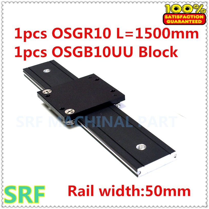 50mm width Dual Axis Linear Roller Guide 1pcs OSGR10 Length 1500mm with OSGB10 4UU Roller linear