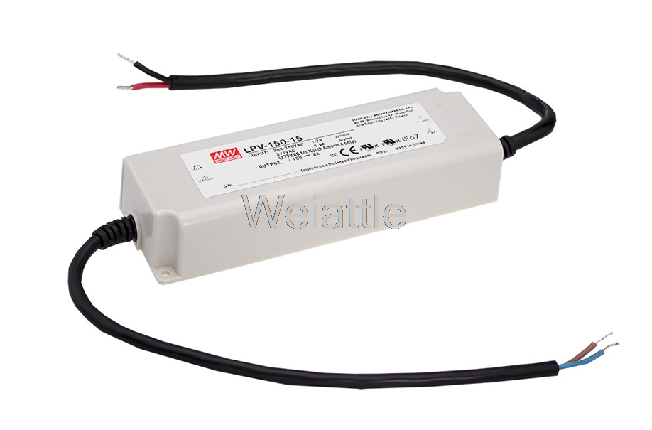 12V 15V 24V 36 <font><b>V</b></font> 48V <font><b>10</b></font> 8 6.3 4.2 3.2A MEANWELL LPV-150-12 150W AC-DC LED Lighting Drive Switching Power Supply waterproof IP67 image