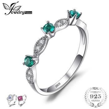 f46adb5427c5 JewelryPalace 3 redonda creado Esmeralda anillos de compromiso para las  mujeres genuino 925 plata esterlina moda joyería fina