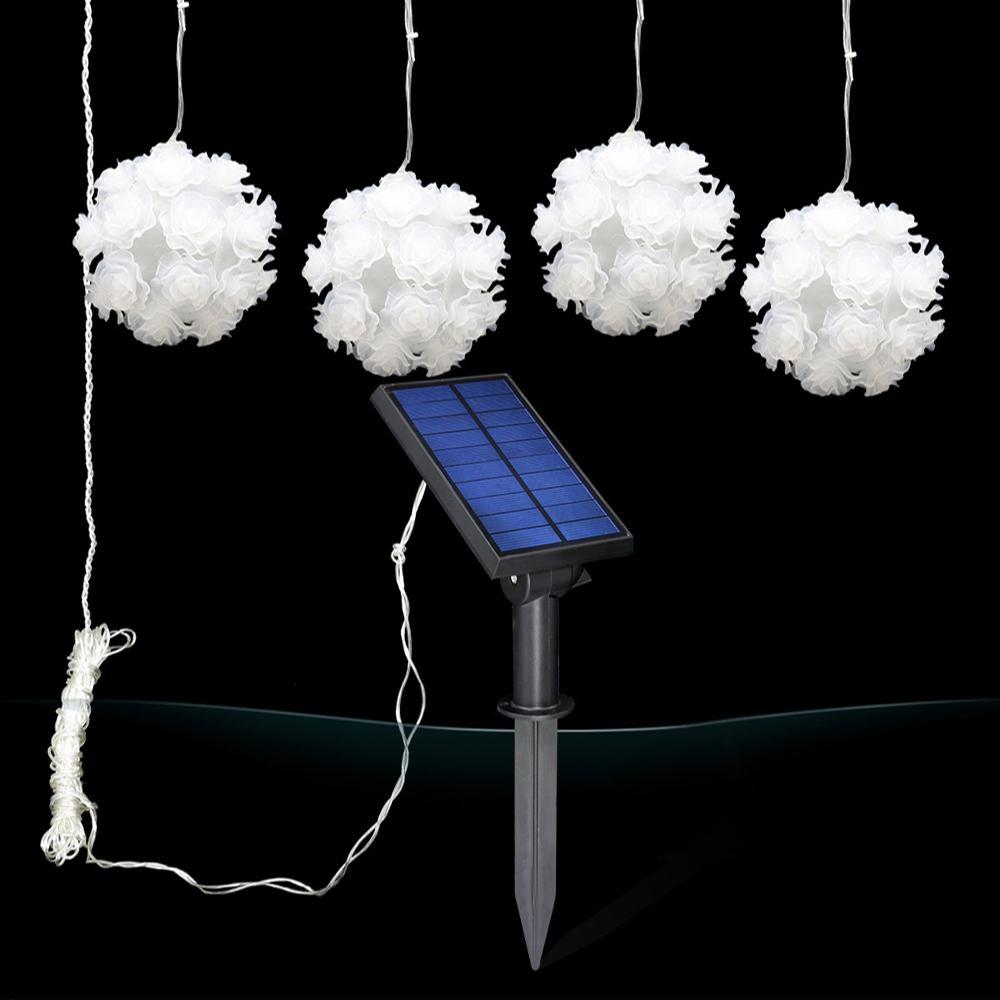 Solar Powered LED Rose Flower Lamp RGB 3 colors Light Fairy LED String Bouquet Night Light Floral Starry Wedding Party Lighting 3 10m series and parallel 99ft 300 led waterproof warm white led string fairy starry light copper wire plug adapter powered