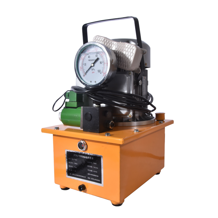 ZCB-700D Hydraulic Electric Pump 7L Oil Reservoil Capacity 220v/ 380v/110V Optional Solenoid Valve Pump With Pedal 750W 70Mpa