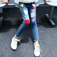 2017 herbst kinder kleidung mädchen jeans herz muster schule kausalen denim blau mädchen jeans hosen für mädchen kinder hosen