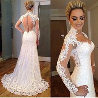 Romantic Long Sleeves Wedding Dress 2018 Lace Bride Dress Mermaid High Neck Fashionable Bridal Gown Sexy Sheer Back