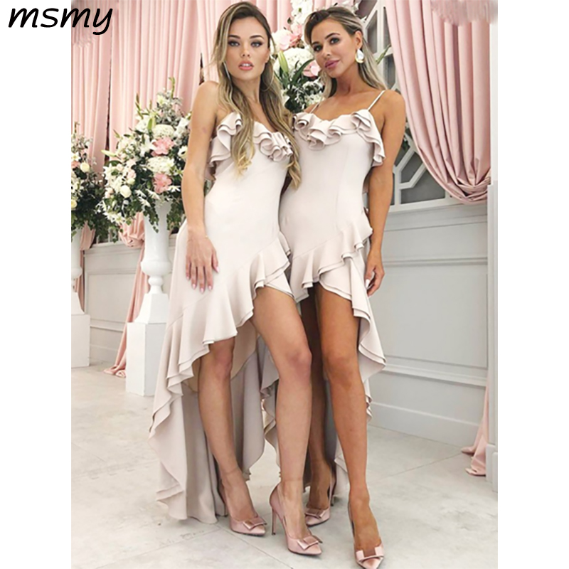 New Simple A-Line   Bridesmaid     Dresses   Spaghetti Straps High Low Satin Sleeveless Pleat Cheap Long   Bridesmaid     Dresses   Custom Made