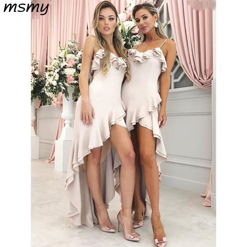 New Simple A-Line   Bridesmaid     Dresses   Spaghetti Straps High Low Satin Sleeveless Pleat Cheap Long   Bridesmaid     Dresses   Custom Made