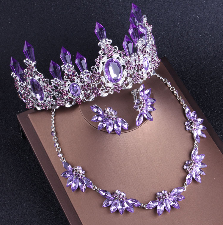 Noble Purple Crystal Bridal Jewelry Sets Necklaces Earrings Crown Tiaras Set African Beads Jewelry Set Wedding Dress Accessories