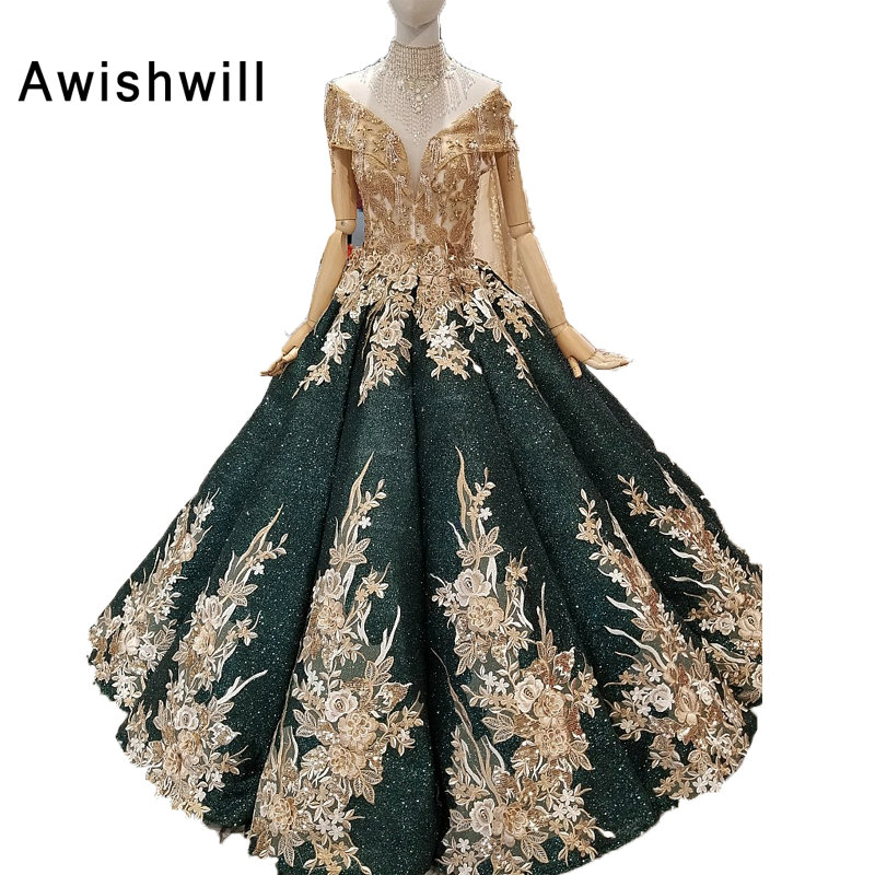Real Photo Vestidos Fiesta de Noche Mujer Cap Sleeve Floor Length Sequin Dress Long Beaded With Lace Formal Ball Gown Prom Dress