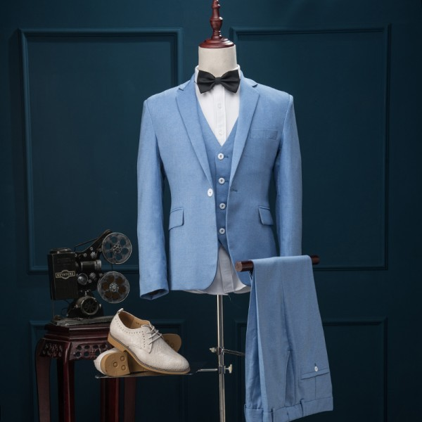 2017 Latest Coat Pant Designs Light Blue Wedding Prom Party Suits 3 ...