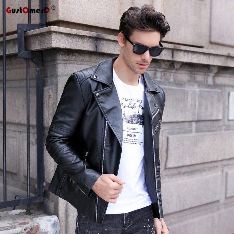 GustOmerD marque 2017 automne hiver décontracté Zipper PU veste en cuir moto veste en cuir hommes Slim Fit hommes vestes et manteaux
