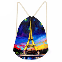 Drawstring Bag Women's Eiffel Printing Small Shopping Bag Ladies String Package for Females Fashion Pouch mochilas