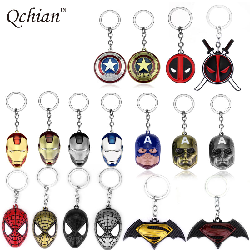 The Avengers Spiderman Iron Man Deadpool Keychain Captain America Batman Key Chains Holder Ring Metal Pendant for Men Women