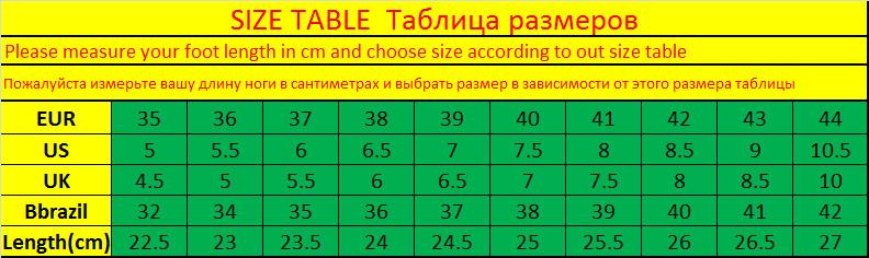 unisex size table