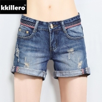 Denim Shorts For Women 25 32 Size Summer Basic Style Look Slim Straight Fit Folded Bottom Mid Waist Denim Bermuda Short Jeans