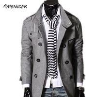 New 2015 Men S Woolen Coat Solid Black Warm Long Windbreaker Double Breasted Overcoat Man Pea