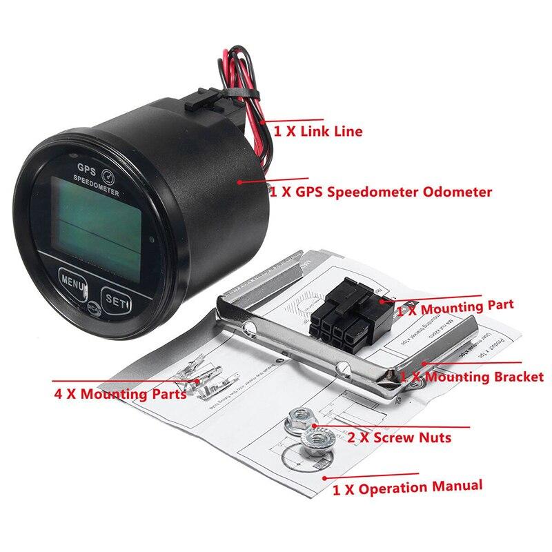 60mm GPS Digital Speedometer Odometer Gauge Car Motorcycle ATV Marine Boat Truck black 60mm gps digital speedometer 12v 24v odometer gauge car motorcycle atv marine boat truck