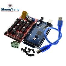 ShengYang Mega 2560 R3 Mega2560 REV3 + 1 Uds rampas 1,4 controlador para impresora 3D arduino kit Reprap MendelPrusa