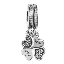 c49c0e22b 925 Sterling Silver Bead Charm Best Friend Forever BFF Crystal Heart Petals  Pendant Beads Fit Pandora